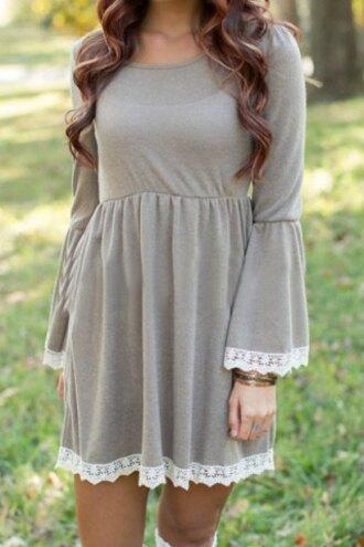 dress fashion grey lace flowy style fall outfits cute girly casual long sleeves clothes trendy stylish