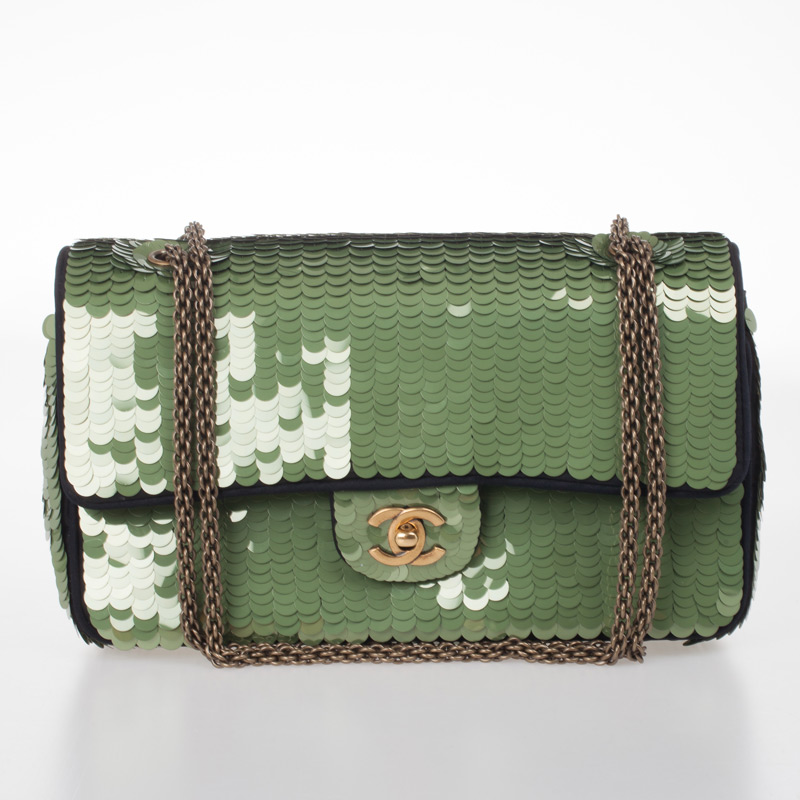 Chanel Green Paillette Flap Bag