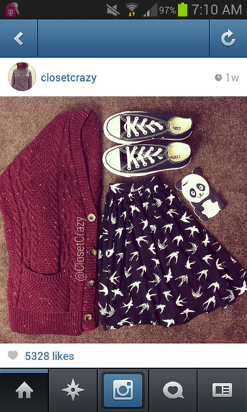 birds shirt burgundy skirt black jacket converse