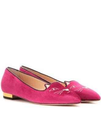 slippers velvet pink shoes