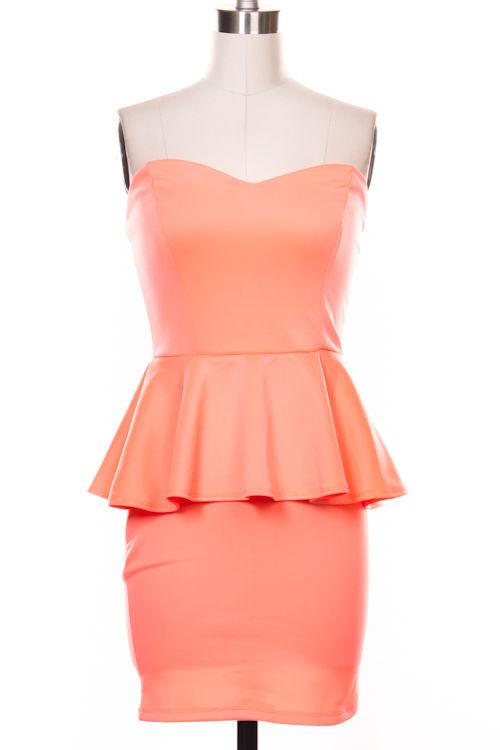 Strapless Dress - Neon Coral Strapless Peplum Dress | UsTrendy