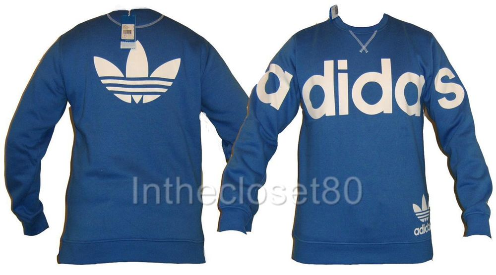 New Adidas Linear Crew Neck Mens Track Top Fleece Sweatshirt Airforce Blue White | eBay