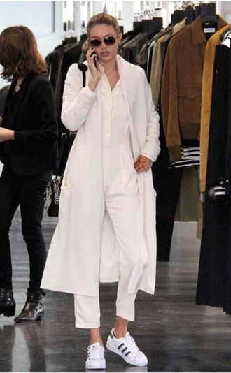 jumpsuit coat sneakers gigi hadid fall outfits shoes cardigan oversized cardigan