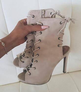 shoes high heel sandals lace up heels nude heels