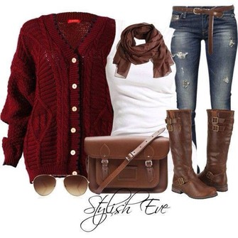 clothes bag brown scarf sweater sunglasses red coat scarf red