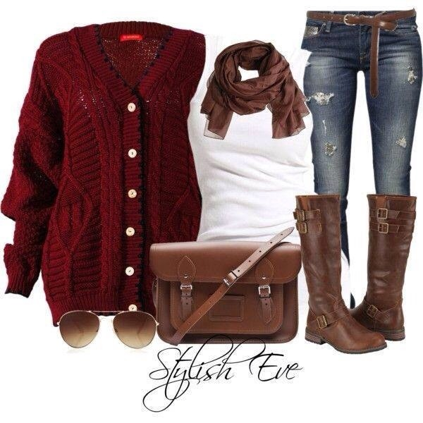 bag clothes sweater red coat brown scarf sunglasses