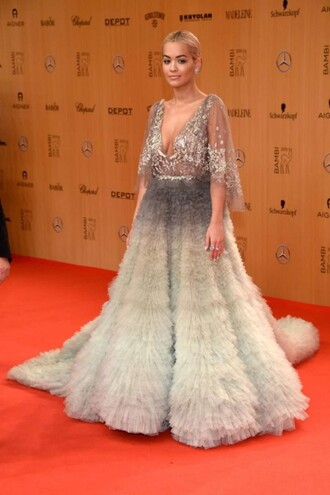 dress gown feather dress feathers fluffy rita ora red carpet dress wedding dress