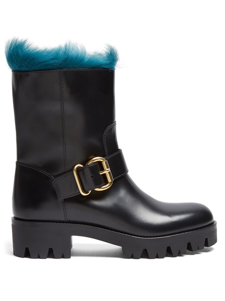 Prada leather ankle boots fur ankle boots leather black shoes
