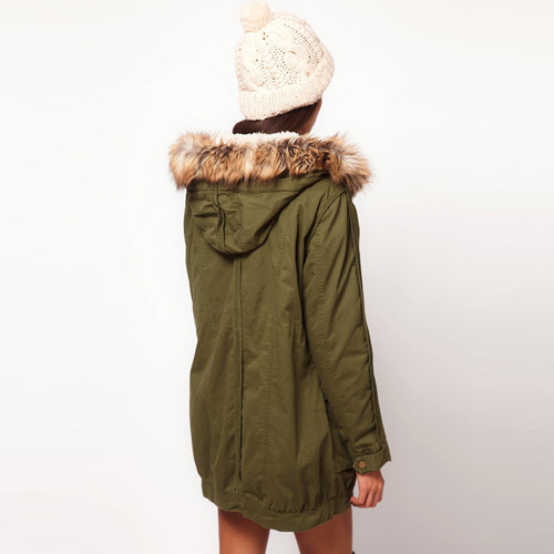 [grxjy56002535]fashion solid color gathered waist hooded warm coat