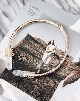 jewels clasp bracelets hippie crystal crystal quartz cuff bracelet gold bracelet