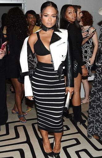 skirt jacket ny fashion week 2016 christina milian stripes striped skirt bra choker necklace black and white midi skirt