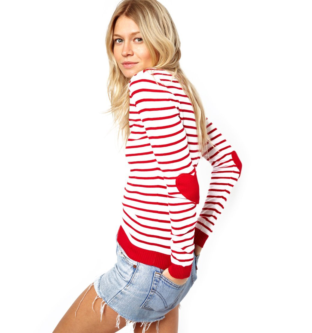 Amazon.com: red striped jumper with heart elbow patch pullovers sweater for women: beauty