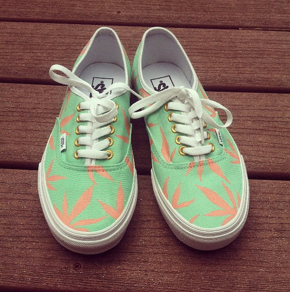 Mint/peach marijuana vans by creativityism on etsy