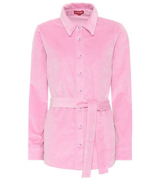 Staud Hayley corduroy shirt in pink