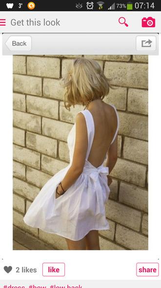 dress white dress low back low back dress white bow dress white bow