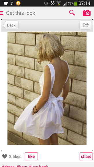 dress white dress low back low back dress white bow dress white bow