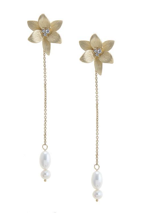 Matte 14K Yellow Gold Fresh Water Pearls Drop Earrings