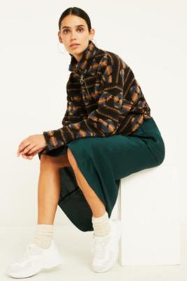 UO Green Satin Bias-Cut Midi Skirt