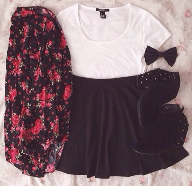cardigan skirt shirt shoes