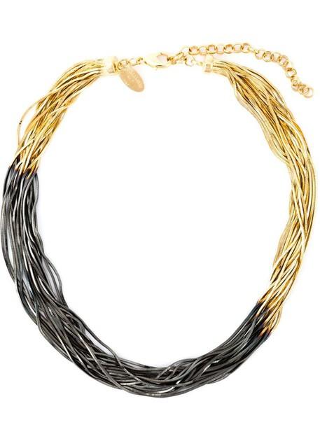 sun women necklace gold black grey metallic jewels