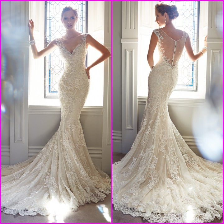 Aliexpress.com : Buy New 2014 Sexy White Ivory V neck Sleeveless Long Bridal Gown Backless Lace Mermaid Wedding Dress from Reliable wedding dresses dc suppliers on 27 Dress