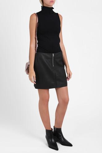skirt leather skirt women leather black