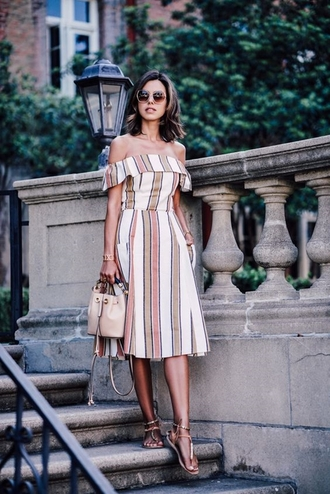 dress brown sandals blogger beige bag round sunglasses off shoulder midi dress