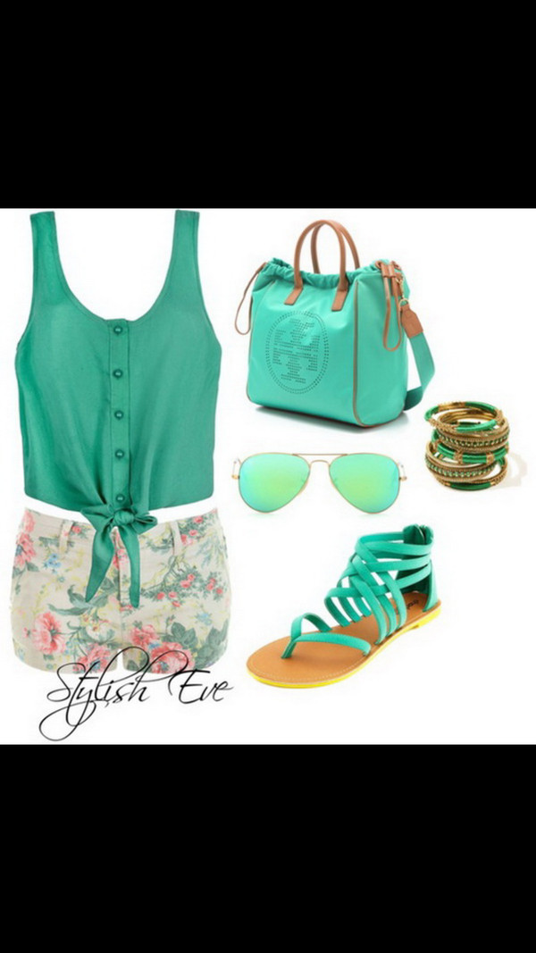 shorts blouse shoes sunglasses