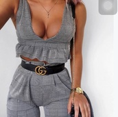 pants,grey,checkered,co ord sets,two-piece