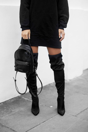bag,tumblr,black backpack,backpack,mini backpack,boots,black boots,over the knee boots,dress,black dress,mini dress,all black everything