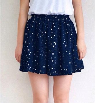 skirt blue stars moon