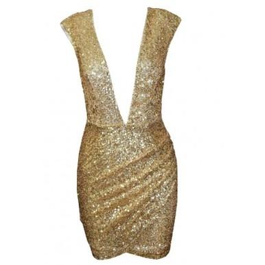 Foxy deep v sequin dress