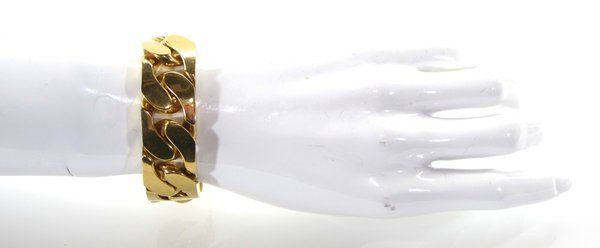 Celine Auth Gourmette Chunky Cuban Gold Chain ID Bracelet Luxe Link Sz S | eBay