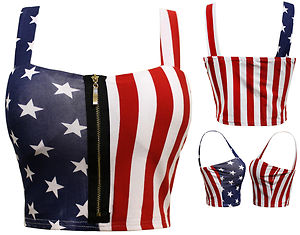 18N New Womens Ladies American Flag Crop Top Stars Stripe Print Crop Zip Vest | eBay