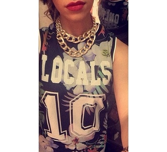 locals 10 tank top gold chain locals10 tropical palm tree print jersey