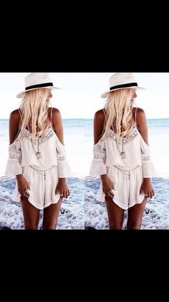 jumpsuit white summer sexy bohemian beach sun sunshine tan