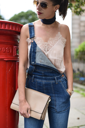 thank fifi,blogger,scarf,tank top,bag,jewels,lace top,pink top,light pink,overalls,denim overalls,nude,clutch,aviator sunglasses