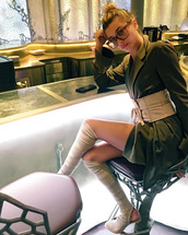 shoes,booties,over the knee boots,hair accessory,belt,instagram,blazer