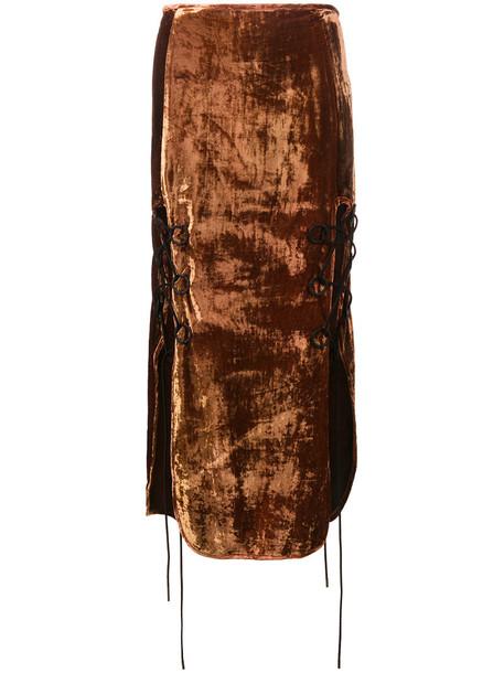 Ellery - The Blues lace up velvet midi skirt - women - Silk/Viscose - 8, Brown, Silk/Viscose