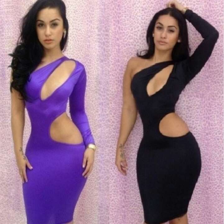 Lethalbeauty ? cutout bust and side one sleeve bodycon dress