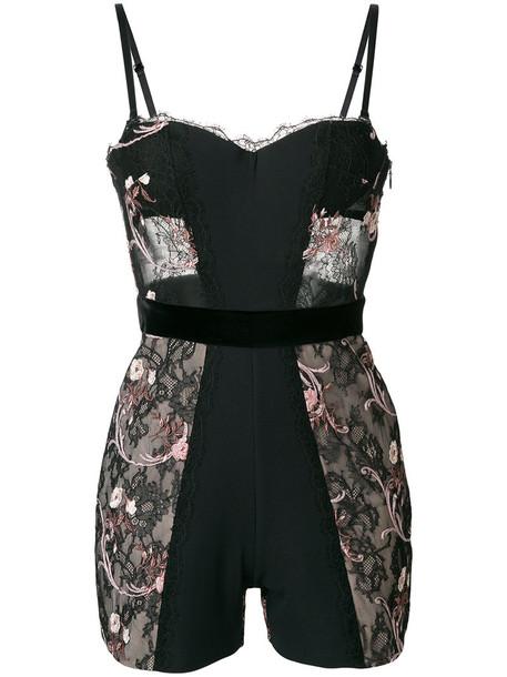 LA PERLA bodysuit embroidered women spandex lace floral black silk underwear