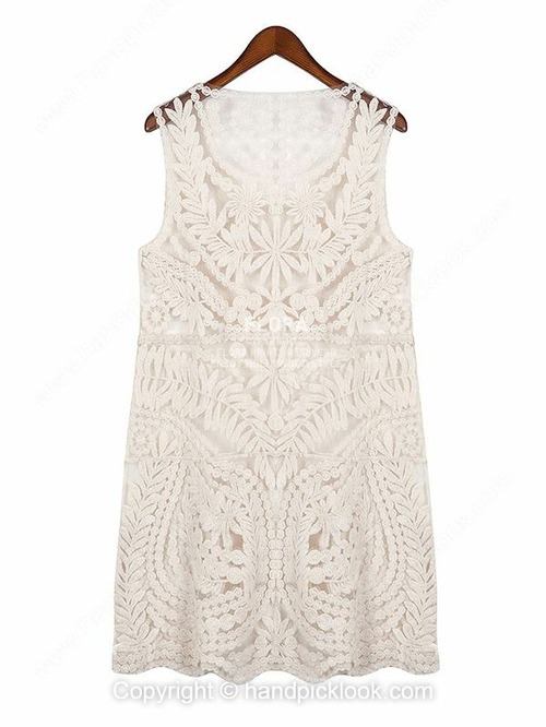 Beige Round Neck Sleeveless Lace Dress - HandpickLook.com
