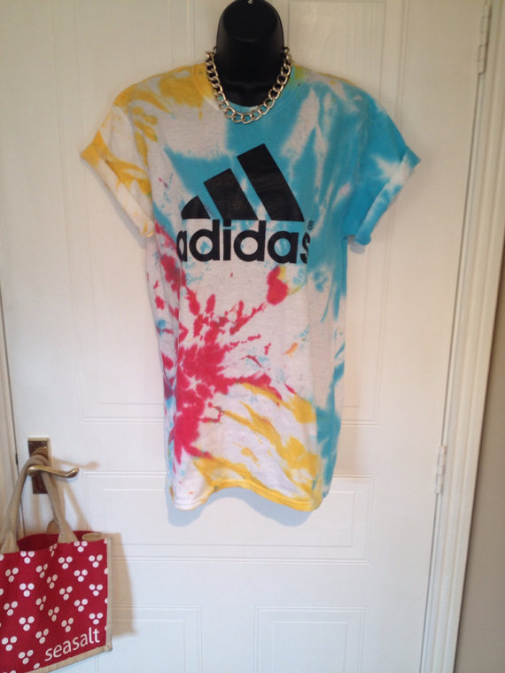 Unisex customised adidas acid wash tie dye t shirt sz med