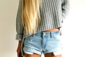 shorts,High waisted shorts,sweater,same,grey,blue shorts,crop tops,cute outfits,summer outfits,cardigan,knitwear,winter sweater,style,outfit,tumblr outfit,tumblr sweater,weheartit,grey sweater,hippie,loose fit sweater,hipster sweater,grunge,jeans,jeans short highwaisted,blonde hair,summer shorts,top