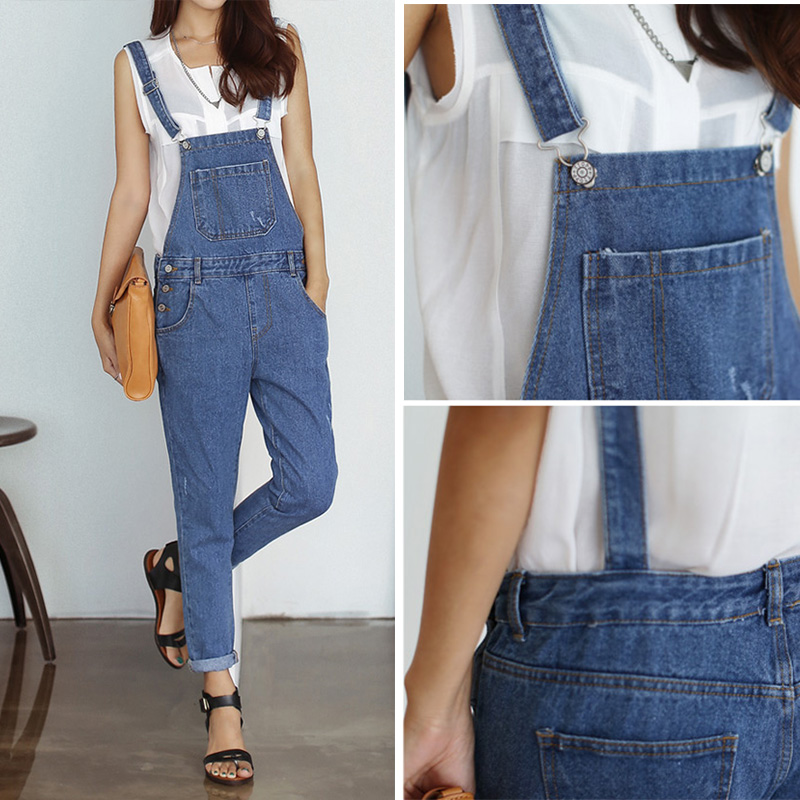 2014 new arrival women's denim overalls casual loose spaghetti strap jumpsuits female jeans playsuit macacao WT064-inJumpsuits & Rompers from Apparel & Accessories on Aliexpress.com