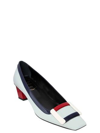 pumps leather light blue light blue red shoes