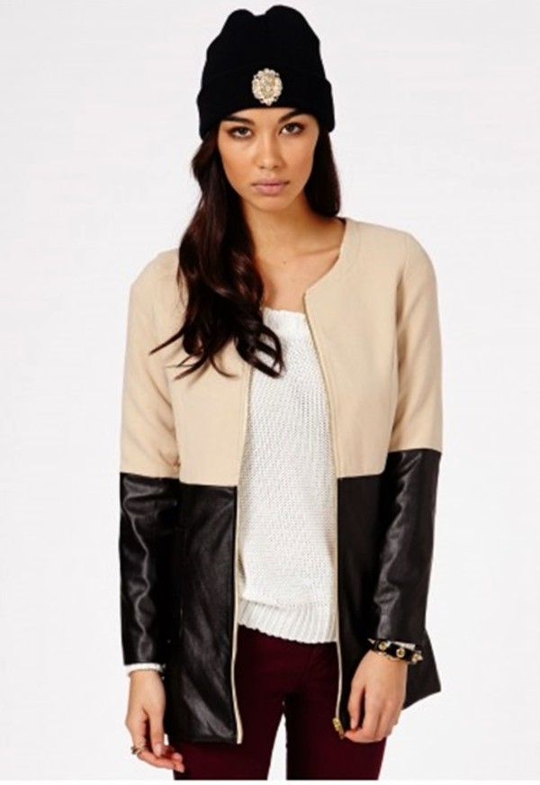 coat winter outfits leather jacket jacket rihanna beige dress sweater hat