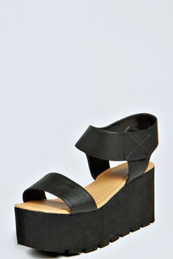 Liz Chunky Tread Wedges at boohoo.com