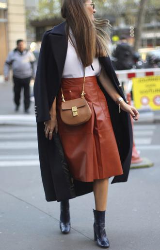 b a r t a b a c blogger top skirt bag shoes coat sunglasses