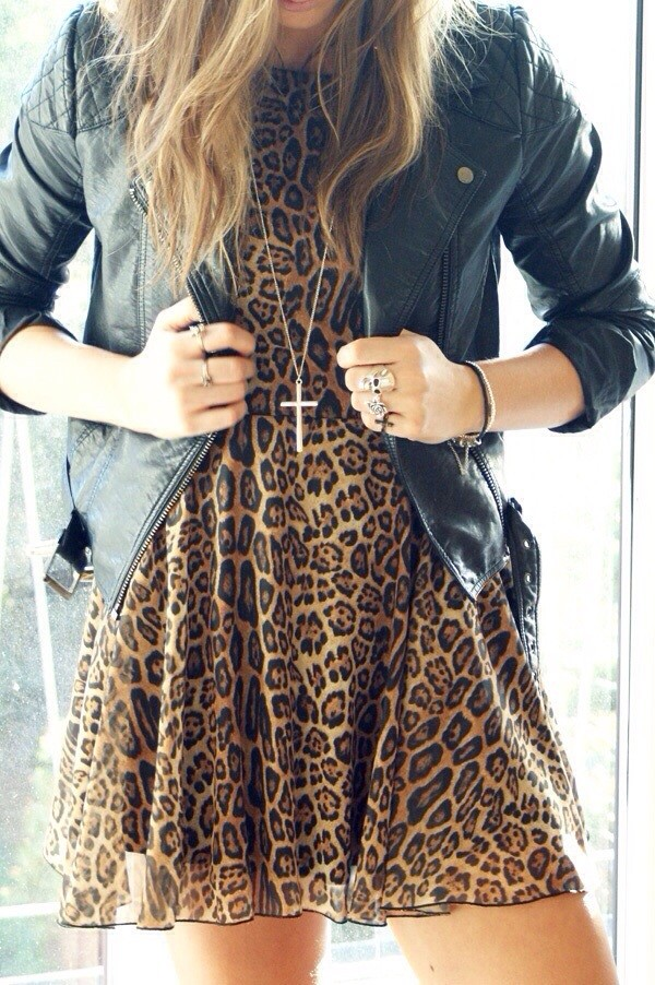 jacket leather jacket black leather jacket leopard print dress